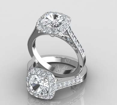 sarah bezel set halo ring with milgrain price 1800 - Halo Wedding Rings