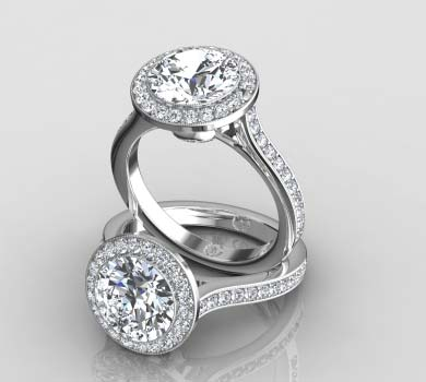 Channel Set Halo Ring With ...