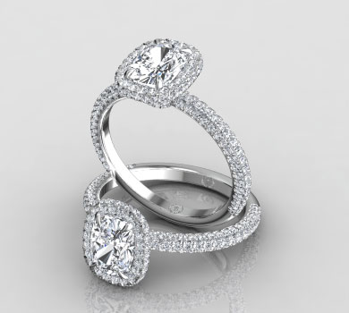 Kimberly Three Row Pave Ring With Double Halo Price : $2850