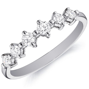 18k White Gold Flora Six-Diamond Band by Eternity