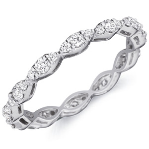 18k White Gold Josette Diamond Trio Band by Eternity
