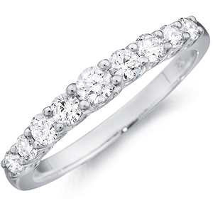 14k White Gold Camille round-cut diamond band with diamond set band by Eternity