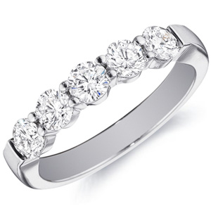 18k White Gold Rachel Gold Band Set With Five Diamonds by Eternity