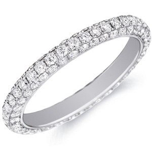 18k White Gold Delphine Diamond Band In Pave Setting by Eternity