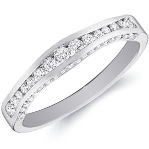 18k White Gold Lindsay Channel-Set Diamond Band With Curved Accents by Eternity