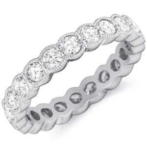 eternity diamond bands band set bezel milgrain ring round
