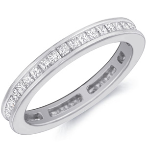 18k White Gold Elsa Channel-Set Princess-Cut Diamond Band by Eternity