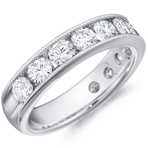 14k White Gold Morgan channel-set round cut diamond band by Eternity