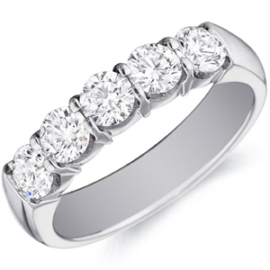 18k White Gold Danielle Five Stone Wedding  Band by Eternity