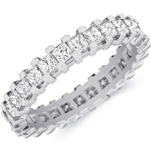 18k White Gold Greta Channel-set Princess-cut Diamond Band by Eternity