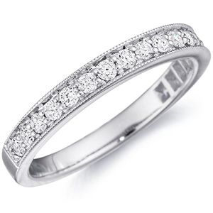 18k White Gold Bianca Milgrain Three-Quarter Wedding Band