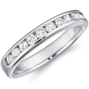 18k White Gold Sage Half Way Channel Set Wedding Band