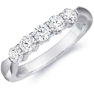 18k White Gold Donatella Five Stone Wedding Band by Eternity
