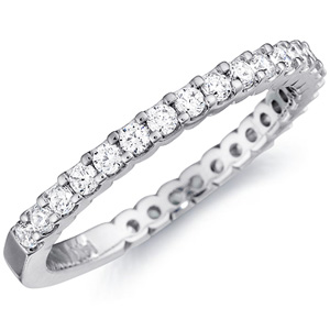 18k White Gold Laura Three-Quarter Prong Set Wedding Band