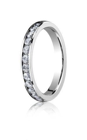 14k White Gold Channel Set Mens Wedding Rings