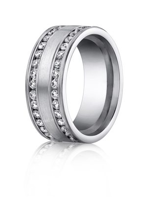 14k White Gold Double Eternity Band