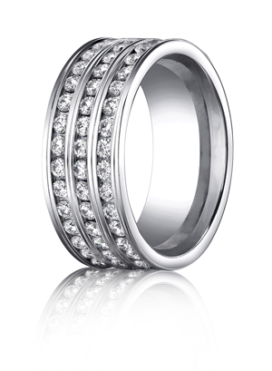 14k White Gold Triple Eternity Band