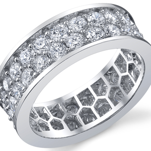 18k White Gold Double Row Eternity Band t.w. approx 3 Ct.