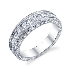18k White Gold Vintage Style Wedding Band t.w. approx 1.14ct