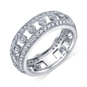 18k White Gold Prong & Bezel Wedding Band