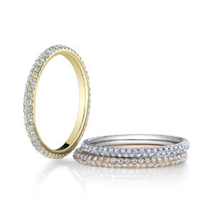 18k White Gold Tri Color Eternity Bands
