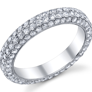 18k White Gold Pave Style Eternity Band  t.w. approx 2 Ct.