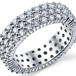 18k White Gold Triple Row Eternity Band t.w. approx 2 1/3 Ct.