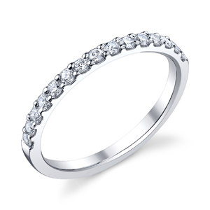 18k White Gold Wedding Band Shared Prong