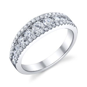 18k White Gold Wedding Band Triple Rows t.w. approx 1.29 Ct.