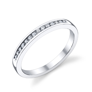 18k White Gold Classic Channel Set Wedding Band t.w. approx .16ct