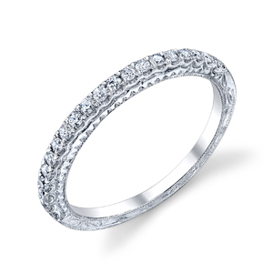 18k White Gold Vintage Style Wedding Band Hand Engraved T W Rox 24ct