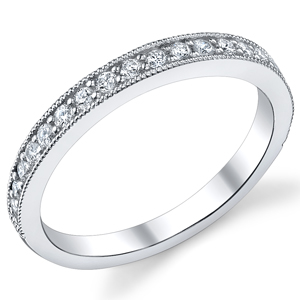 18k White Gold Diamond Wedding Band t.w. approx .30ct