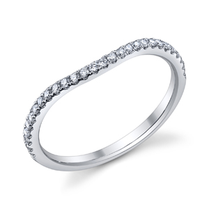 18k White Gold Curved Wedding Band t.w. approx .19ct