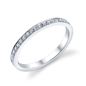 18k White Gold Bright Edge Style Wedding Band t.w. approx .36ct