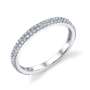 18k White Gold Double Row Diamond Band t.w. approx .32ct