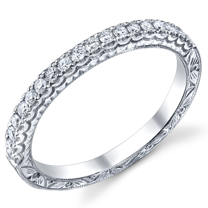 18k White Gold Vintage Style Wedding Band t.w. approx 1/5ct