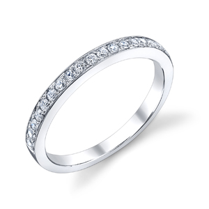 18k White Gold Bright Edge Wedding Band t.w. approx .20ct