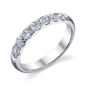 18k White Gold 7 Stone Diamond Wedding Band t.w. approx 1ct  Available t.w. 1/4ct to 1ct
