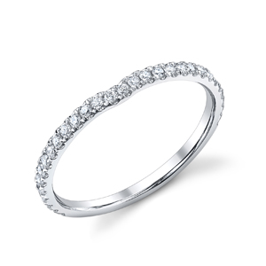 18k White Gold Curved Diamond Band t.w. approx .24ct