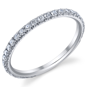 18k White Gold Wedding Diamond Band t.w. approx .43ct