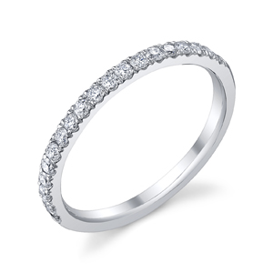 18k White Gold Diamond Wedding Band t.w. approx .30 Ct