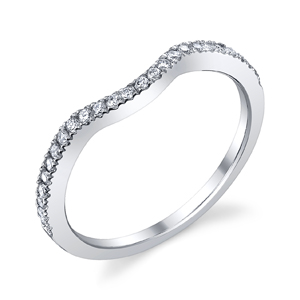 18k White Gold Curve Diamond Wedding Band t.w. approx .18 Ct