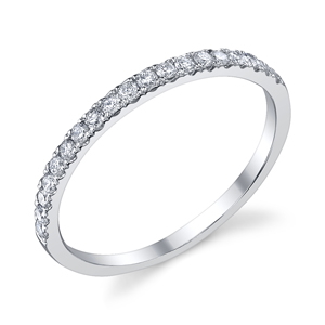 18k White Gold Diamond Wedding Band t.w. approx .25 Ct