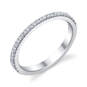 18k White Gold Diamond Wedding Band t.w. approx .20 Ct