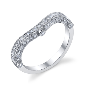 18k White Gold Curved Diamond Encrusted Wedding Band