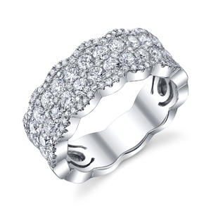 18k White Gold Elegant Pave Diamond Band