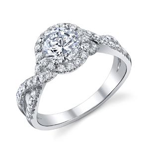 18k White Gold Eleanor Twisted Diamond Band Halo Ring 62 Ctw