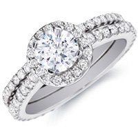 Leila Halo Diamond Ring  and Matching Band (1.16 ctw)