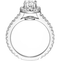 Leila Halo Diamond Ring with Prong Set Band (.70 ctw)