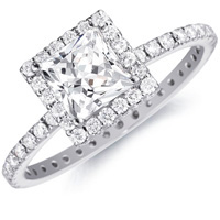 Daphne Princess-Cut  Diamond with and Diamond Eternity Band (.65 ctw.)